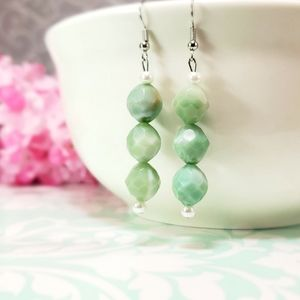 Acrylic Faceted Light Green Jade Color Earrings